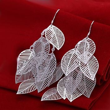 Elegant Fashion Jewelry 925 Silver Plated Stud Dangle Earings Eardrop A Banch Of Leaves = 1958338436