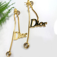 Dior New fashion women simple letter diamond long earrings Gold