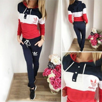 """Adidas"" Fashion Casual Multicolor Clover Letter Print Hooded Long Sleeve Set Two-Piece Sportswear"