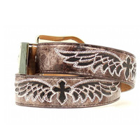 Nocona Womens Gray And Black Crackle Angel Wing Belt