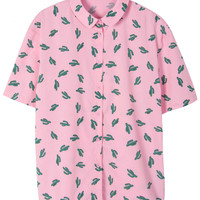 Pink Cactus Print Buttoned Blouse