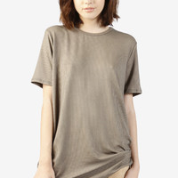 Pierre Oversized Ribbed Tee - Taupe