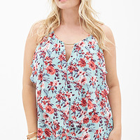 FOREVER 21 PLUS Floral Flounce Halter Cami Mint/Coral