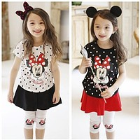 Girl's clothing sets for baby girl sets Polka dot set cotton child casual t-shirt+skirts with legging pants culottes