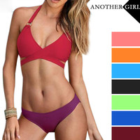 2016 New Sexy Bandage Solid Swimsuit Women Push Up Swimwear Bikini Set Bathing Suits Swim Biquini