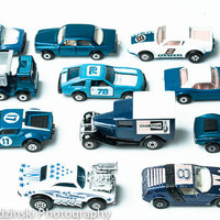11x14 Blue Cars Print  - Blue Vintage Toy Car  - Little Boys Room - For Him - Home Decor - Matchbox cars - Fathers Day Gift - Baby Boy