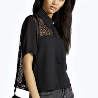 Lily Lace Back Crop Half Sleeve Shirt