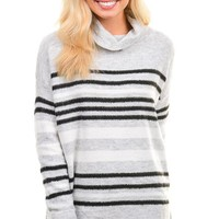 Heather Gray Striped Cowl Neck Sweater