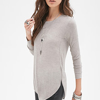 FOREVER 21 Heathered Side-Slit Top Taupe