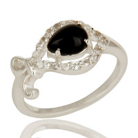925 Solid Sterling Silver Natural Black Onyx And White Topaz Designer Ring