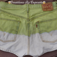 Medium 79 Green/White Vintage High Waisted by CreationsByCupcake