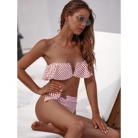 Striped Ruffle Bandeau With High Waist Bikini Set