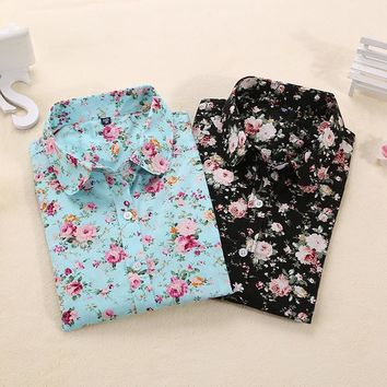 Floral Blouse Long Sleeve Shirt for Women