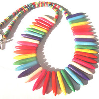 Rainbow Dagger Stick Necklace Women Fashion Synthetic Turquoise