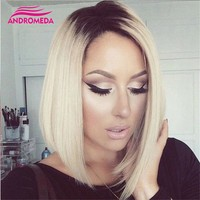 Short Straight Ombre Blonde Bob Side Part Dark Roots Wigs