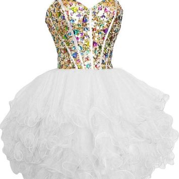 Sunvary Gorgeous Rhinestone Short Girls Homecoming Prom Dresses Cocktail Party Dress Bridesmaid Gowns Sweety 16 Pageant Dance Dress- US Size 2- White