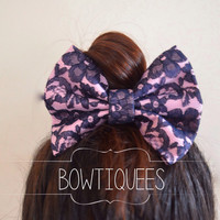 Blue Lace / Pink Bow, Lace Bow Hair Tie , Lace Bow Pony Tail Holder