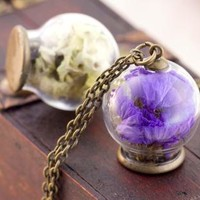 The small and pure and fresh style The glass dry flower necklace creative diy accessories handmade sweater chain long - $9.99 - Vintage Items and Unique Gifts by seastar
