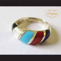P Middleton 5 Stone Ring Sterling Silver 925