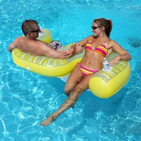 Rave Sports Fiji 2-Person Inflatable Lounge Chair Pool Float (Yellow/Green)