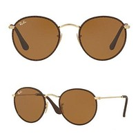 NEW Rayban Leather Craft Metal Round Sunglasses RB3475Q 9041 50 Brown Gold Glass