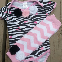 Baby Girl Zebra Outfit - Baby Shower Gift - Baby Leg Warmers - 3-6 months, 6-9 months