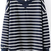 Navy Striped Long Sleeve Sweatshirt