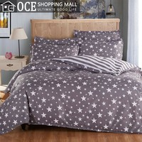Active printed Grey bedding set king size,Five-pointed star bed set,Contain duvet cover bedsheet pillowcase,bedclothes&45