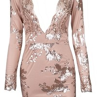 Moonlight Mystery Beige Gold Sequin Floral Long Sleeve Plunge V Neck Bodycon Mini Dress