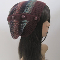 Wine Burgundy Multi Colored Recycled Sweater Slouch Beanie with Buttons Down Side Winter Hats Sweater Hats Accessories