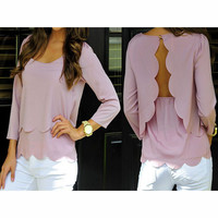 FASHION BACKLESS HOLLOW OUT WAVE EDGE T-SHIRT