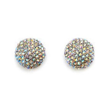 Rhinestone Studded Dome Earrings: Charlotte Russe