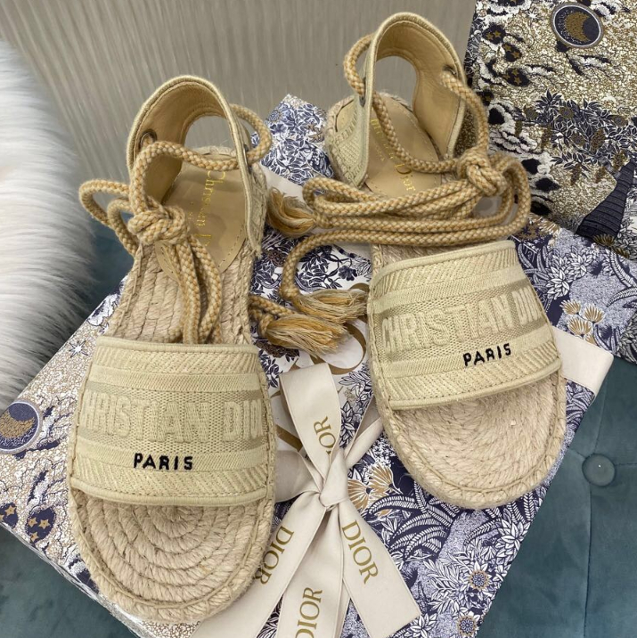 Image of DIOR  Jacquard embroidered grass bottom fisherman's shoes