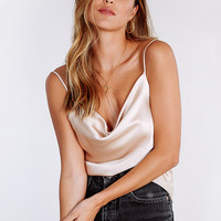 Hollywood Is Waiting Cowl Neck Top // Nude