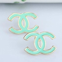 Gold Plated Turquoise Mint Green Enamel Double Cc C C Stud Earrings