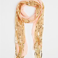Peach Sequin Skinny Scarf Duo