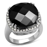Mens Stainless Steel Rings LO4085 Rhodium Brass Ring with CZ