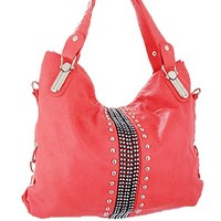 Rhinestone Studded Hobo Bag Decorative Purse Coral