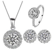 Sky Crystal Trio Set Necklace + Earrings + Ring