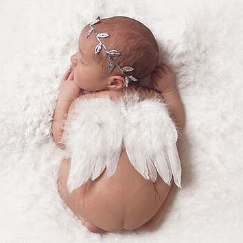 Baby born Props Accessories Infant Baby Girls White Angel Feather Wings Feather Props born