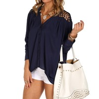 Navy Crochet Back Dolman Top