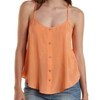 Light Coral Crochet-Back Button-Up Tank Top by Charlotte Russe