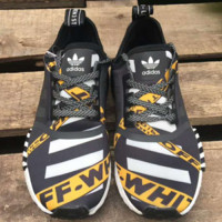 Off-White x Adidas NMD R1 Boost Fashion Casual Trending Running Sneakers Shoes Black G