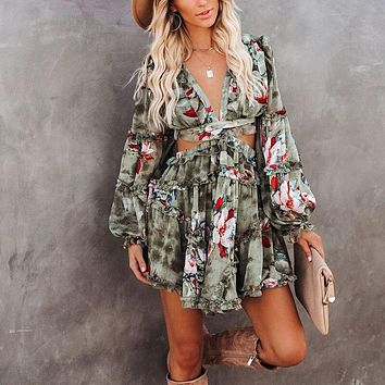Backless Lace Up Women Dress Spring 2021 Floral Print A-Line Waist Hollow Out Cascading Ruffle Dress Casual Female Mini Vestidos