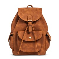 Women's Suede Texture Mini Backback with Drawstring - Congac
