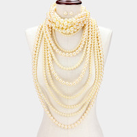 2 piece faux pearl strand multi strand bib choker collar necklace earrings