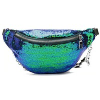 Sequin Fanny Pack With Chain Detail