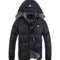 Adidas Winter Men Print Long Sleeve Hoodie Cotton Coat Windbreaker