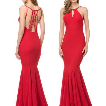 Colors 1539 Elegant Strappy Back with Chest Keyhole Cutout Prom Evening Dress