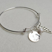 Charm bracelet, Child name with Mommy, baby foot prints, Angel wing, Personalized bracelet for mom, Mother's day Gift, friendship bracelet